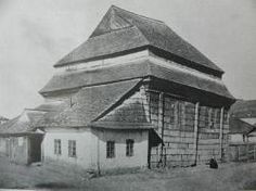 Wooden Synagogue in Poland destroyed by the Nazis and being reconstructed. Synagogue in Gwoździec.