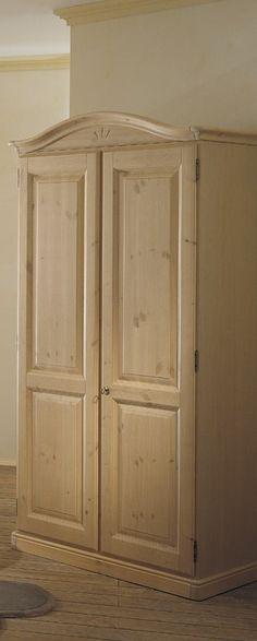 Cameretta in legno di pino, con lettino singolo, comodino, armadio ...