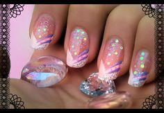 "Nail Art - French en ""V"" - fleurs d'automne... - water marble - * Tartofraises : Nail Art sur ongles naturels *"