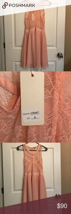 Pink dress Adorable, lace top dress. NWT! Brand is The Clothing Company. Dresses