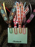 Ribbon paperclip bookmarks- you can make a ton of these in an hour!