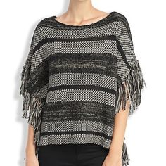 Lucky brand festival fringe sweater Poncho silhouette sweater super soft with fringe detail at the side Lucky Brand Sweaters