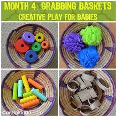 Keep baby entertained while working on grasping skills and Tummy Time (over a Boppy pillow) with grabbing baskets! Creative Play ideas for newborns from a pediatric OT.