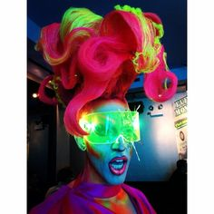 Neon Acid Betty.  Gayglow Party Chicago!  Cyberdog glasses.  Hair by Acid with…