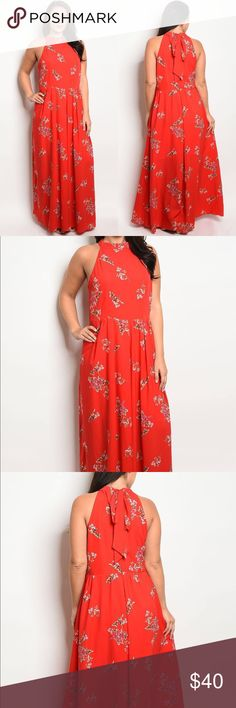 (Plus) sleeveless maxi gown with floral details Ladies fashion plus size sleeveless maxi gown with  boat neckline and floral print details Dresses Maxi