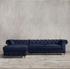 Restoration Hardware | Kensington Upholstered Left-Arm Sofa Chaise Sectional with Belgian Linen in Indigo