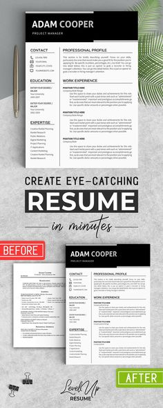 Business Resume Template MS Word by LevelUpResume on - eye catching resumes