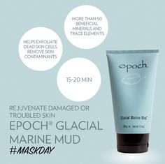 This skin renewing estuary treasure helps exfoliate dead skin cells, remove skin contaminants, and rejuvenate damaged or troubled skin. It nurtures your skin with more than 50 beneficial minerals and trace elements, including zinc and sea botanicals. Epoch Mud Mask, Marine Mud Mask, Glacial Marine Mud, Dead Skin, Anti Aging Skin Care, Health And Beauty, Just For You, Instagram, Nu Skin Mud Mask