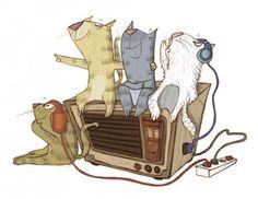 escuchando la radio, ilustración de Esther Burgueño