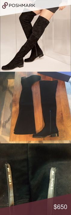 """NWT Stuart Weitzman Hilo Thigh High Suede boots New with box Stuart Weitzman Thigh high suede boots in size 7.5. Never worn no scuffs perfect condition! Hilo boot is crafted from lush suede with a thigh-high shaft that lengthens the line of the leg. A rounded toe, elastic-inset back and rubber sole keep the statement-making style exceedingly wearable. 1 1/4"""" heel (size 39.5). 26"""" boot shaft; 14"""" calf circumference. Pull-on style with partial zip closure and inset elastic goring. Comes with…"""