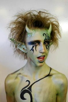 Puck A Midsummer Night's Dream  - horns? plus general green hue to skin - tear t shirt and have ivy protruding?