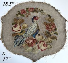 """Antique Victorian Beadwork, Needlepoint Screen Panel, 18.5"""" x 17"""" with Pheasant and Flowers, Pillow?"""