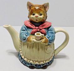 Otagiri Japan Mother Cat Having TEA Teapot Apron Blue Dress Multi Color