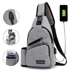 Large Capacity Casual Outdoor Travel USB Charging Port Sling Bag Chest Bag Crossbody Bag is hot-sale, many other cheap crossbody bags on sale for men are provided on NewChic Mobile. Cuir Vintage, Cheap Crossbody Bags, Mocassins Cuir, Water Bottle Holders, Online Bags, Outdoor Travel, Bag Sale, Sling Backpack, Nylons