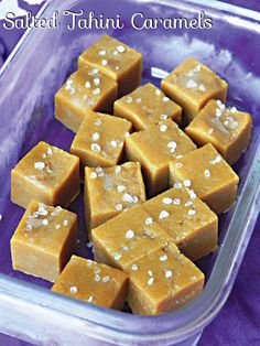 Salted Tahini Caramels! Ingredients: 1/2 cup tahini, 1/4 cup coconut flour, 1/4 cup coconut nectar, 1/8 teaspoon coarse sea salt ~ Combine everything but the salt, pour into a small glass container (lined for easy removal), sprinkle w/sea salt, freeze & slice into bite sized pieces! #MyVeganJournal