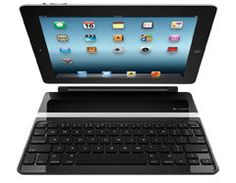 Logitech Ultrathin Keyboard Cover, instant On/Off,  I love this, works great on my lap and means I rarely have to hold the iPad, which gives my wrists and elbows a rest which is essential.  I love it!!