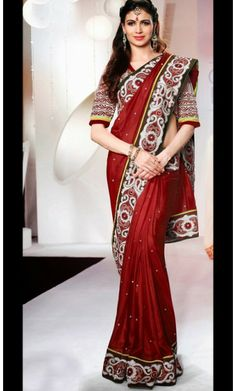 Dazzling Diva Crimson Embroidered Saree #Sarees-Clothing #SareesShop-Online