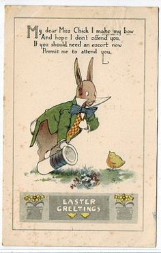 Vintage Fantasy Humanized Bunny Dressed Rabbit Greets Chick Easter Postcard | eBay