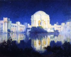 Colin Campbell Cooper painting of Palace of Fine Arts at the Panama Pacific International Exposition of 1915 held in San Francisco.