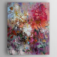 Oil Painting Impression Flowers Painting Hand Painted Canvas with Stretched Framed Ready to Hang – USD $ 75.99