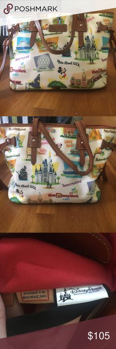 Dooney & Bourke Disney Parks Bag Dooney and Burke Disney parks bag. The print is the Retro Disney World. This bag is used but in good condition. The measurements are below. Just comment with any questions! Dooney & Bourke Bags Totes