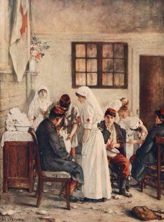 """Puesto ambulatorio en Poitiers (""""L'ambulance de la gare de Poitiers""""). Henri Gervex. 1915. Localización: Paris, musée de l'Armée. https://painthealth.wordpress.com/2016/04/22/puesto-ambulatorio-en-poitiers/"""