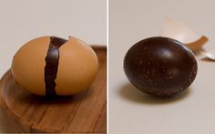 pour melted choc inside eggshell. turn to coat inside of shell. let harden. then fill with something else delic.