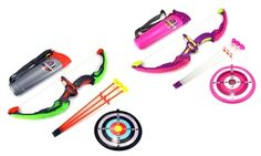 This brightly colored toy bow and arrow set features a light-up grip and soft dart-like arrows