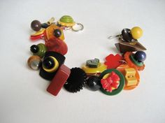 Vintage Bakelite Buttons Charm Bracelet Duck by MyVictorianCottage