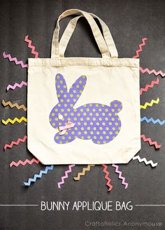 free template Make your own Easy Bunny Applique Bag! #easter #springcraft #cute #kawaii cut on a silhouette