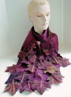 Wool felted Red Maple Leaf scarf hand felted Merino, by craftybabs, Barbara Voss