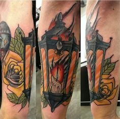 Neo traditional Lantern with roses