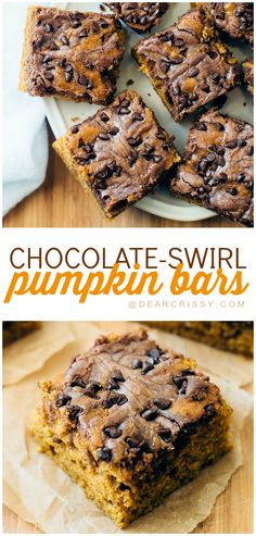 Chocolate Swirl Pumpkin Bars - This pumpkin dessert recipe is easy to make and delicious. The pumpkin flavor swirled with chocolate is INSANELY GOOD. Pin it now and thank me later!