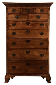 Fine American Chippendale Walnut Tall Chest of Drawers attributed to Virginia, late 18th/early 19th century, tall form with three-over-two-over-five drawers, flanked by quarter columns, dentil-molded cornice and ogee bracket feet, figured mellow brown walnut throughout with poplar, yellow pine and walnut secondary, original feet and most blocking, case with full dust boards throughout, 78-1/2 x 47-1/2 x 25-1/2 in.