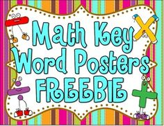 Math Key Word Posters FREEBIE! - This is what I have on my bulletin board.  :)