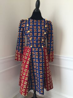 Blue & Red African Print Dress Size 12 US by AlabaBoutique on Etsy