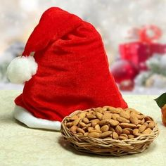 Send Santa Healthy Basket Online with same day delivery in Ahmedabad from SendGifts Ahmedabad. Order Santa Healthy Basket online and express your best feeling to your Special Person. Baskets, Ahmedabad, Almonds, Christmas Gifts, Santa, Cap, Healthy, Xmas Gifts
