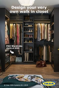 You can design a PAX wardrobe that fits all of your outfits and fits right into your space. in 2019 Armoire Pax, Casa Patio, Pax Wardrobe, Corner Wardrobe, Closet Remodel, Master Bedroom Closet, Dream Closets, Closet Designs, Closet Storage