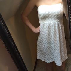 White strapless dress Francesca's dress, padded, a little above the knee, worn once, perfect new condition besides small stain on front in last image that isn't very noticeable Francesca's Collections Dresses Midi