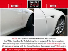When our clients want their white car to have a distinctive look, they purchase our White Heat detailing. It is designed for white colored vehicles to deliver a crisp, deep and brilliant shine, while adding a layer of protection.  #dtautospa #tesla #luxurycars #automotive #automobile #carporn #autodetailing #carwash #automotivedaily #automobile #automotiveshop #teslalife #teslamotors #teslamodeles #teslamodelx #teslamodel3 #teslacar #teslaowner #teslasupercharge #carwash #autodetailing