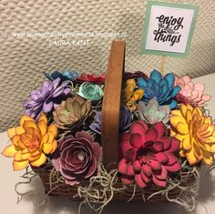 Flower Basket     Don't you just love the Succulent Garden Bundle? I almost ran out of green cardstock (or was it the beautiful weathe...