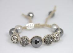 JEWELS by DUNN ~ hematite grey pave and bali silver macrame