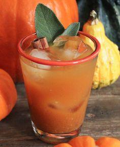 Spiced Pumpkin Punch {pumpkin puree, honey, lemon juice, bourbon, ginger beer, ginger, cinnamon}
