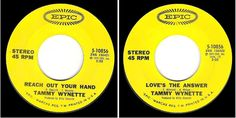 """Tammy Wynette / Reach Out Your Hand (1972) / Epic 5-10856 (Single, 7"""") / stereo #NashvilleSound"""