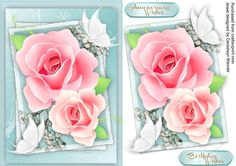 Beautiful pink roses and White Butterflys | Craftsuprint