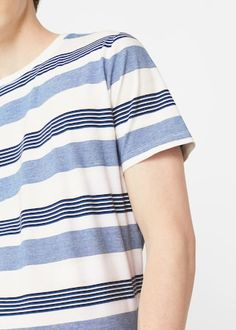 Striped print t-shirt   MANGO MAN