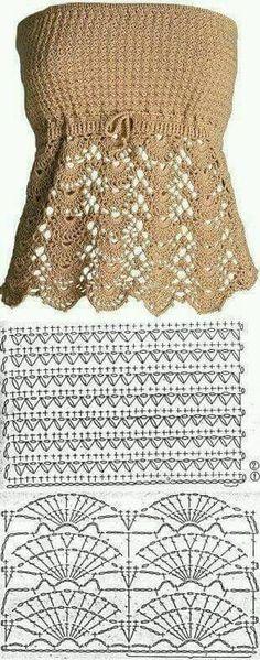 Crochet top pattern free posts 15 new ideas Tops A Crochet, Débardeurs Au Crochet, Mode Crochet, Crochet Woman, Crochet Blouse, Crochet Stitches, Crochet Summer, Crochet Vests, Crochet Edgings