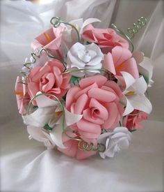 Sweet Romance Paper Rose and Lily Bouquet by LeahRHood on Etsy, $95.00