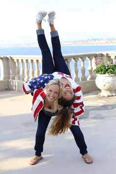 Best friend photoshoot with American flag jackets!