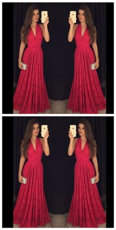 Hot Sexy V-neck Red Prom Dresses/Lace Long Formal Classy Prom Dresses, Prom Party Dresses, Sexy Dresses, Evening Dresses, Fashion Dresses, Formal Dresses, Red Lace Prom Dress, Red Party, Sexy Party Dress